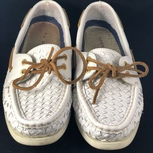 Sperry Top-Siders Weaved White Leather Sz 6.5